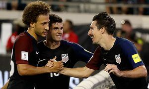 Sacha Kljestan (right) and  Christian Pulisic (center) proved themselves worthy members of the USMNT on Tuesday night