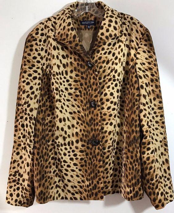 Jones New York Signature Leopard Cheetah Print Blazer Jacket Size 20W 20 Womans #eBayDanna