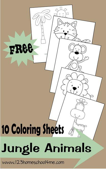 FREE Jungle Animals Coloring Sheets | Animales de selva, Colorante y ...