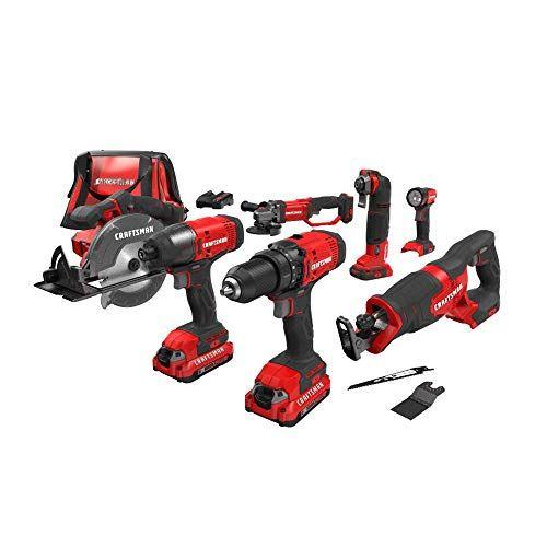 Craftsman V20 Cordless Drill Combo Kit 7 Tool Cmck700d2 Https Www Amazon Com Dp B07kkh3ty5 Ref Cm Sw R P Cordless Drill Tools Cordless Reciprocating Saw