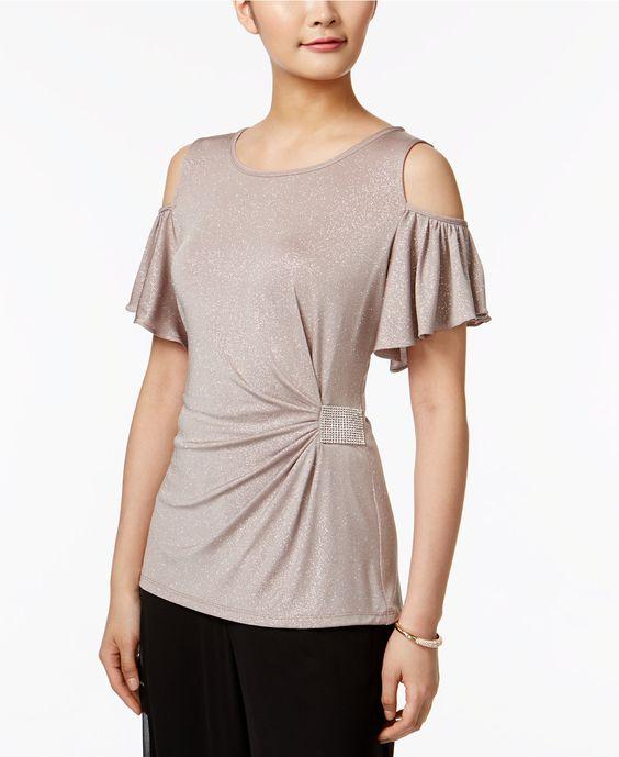 MSK Cold-Shoulder Embellished Blouse - Tops - Women - Macy