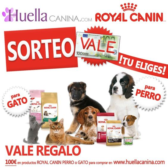SORTEO de VALE REGALO 100€ Royal Canin y  HuellaCanina.com