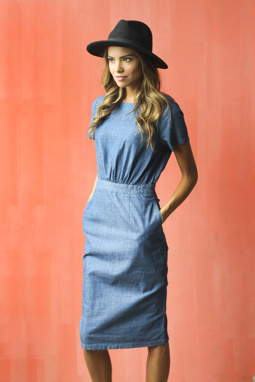 Chambray Pencil Dress, modest short sleeve 62.99 Textured Chambray Fabric Wood Button + Zipper Closure in Back: