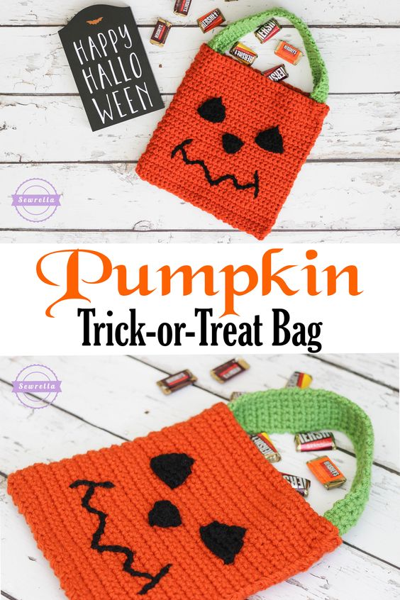 Free Crochet Patterns For Trick Or Treat Bags : Crochet Pumpkin Trick-or-Treat Bag