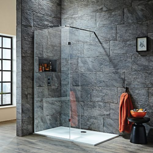 Shield S8 Wet Room Shower Screen With Hinged Return Panel 700 1000mm Shower Enclosure Wet Room Shower Walk In Shower Enclosures