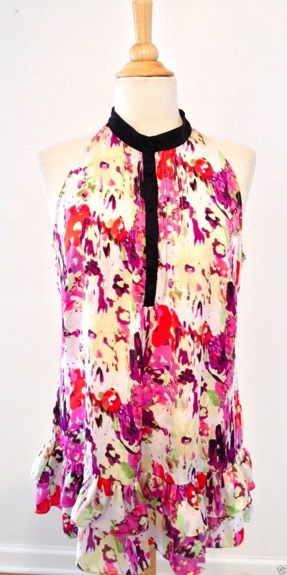 Essentials by Milano Colorful Sleeveless Floral Tunic Blouse Top Large | eBay - Recycled Couture #Fashion #Apparel #Shopping #eBay