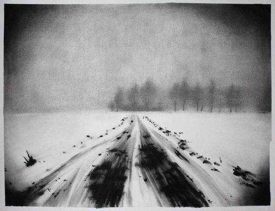 """Half Light #4 - Fog,"" landscape drawing by One-to-Watch artist Marion Costentin (France) http://magazine.saatchiart.com/articles/artnews/saatchi-art-news/one-to-watch/marion-costentin"