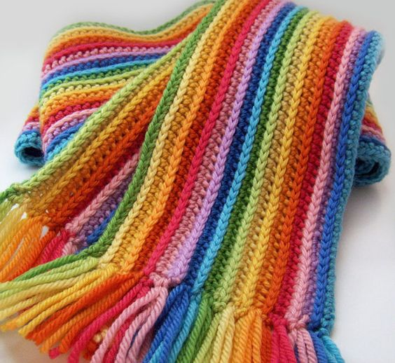 Knitting Pattern For Rainbow Scarf : Striped Rainbow Scarf, Crochet Scarf with Merino Wool Wool, Merino wool and...