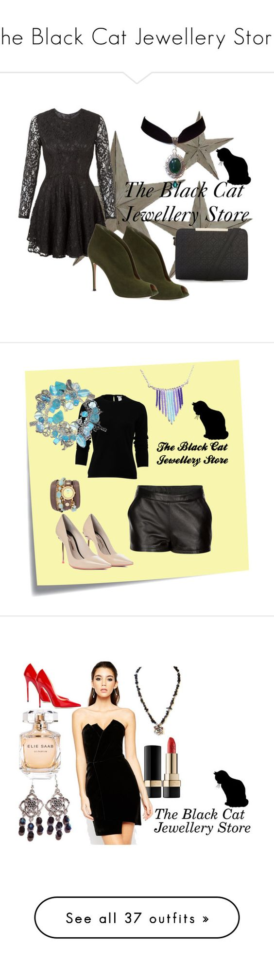 """The Black Cat Jewellery Store"" by tamara-sucha on Polyvore featuring John Zack, Gianvito Rossi, Post-It, Mairi Mcdonald, Sophia Webster, Oscar de la Renta, La Mer, Dolce&Gabbana, ASOS and Jimmy Choo"