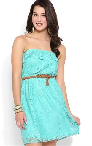 Deb Shops Crochet A Line Dress with Ruffle Bodice and Belted Waist $26.25