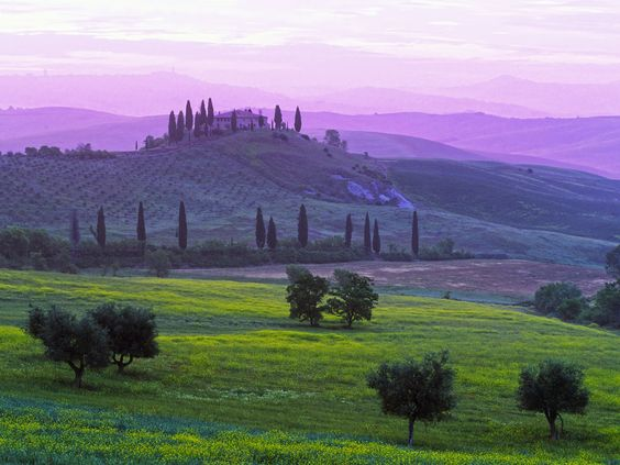 Podere Belvedere at Dawn, Val d'Orcia, Tuscany, Italy