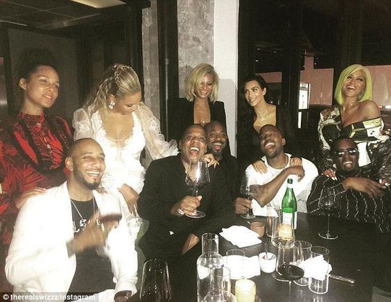 Empire state of mind: Kimye (second from right) and Bey later caught dinner, with stars such as Jay-Z, Alicia Keys and Diddy present for the fun