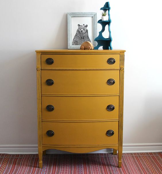 Antique Yellow Bedroom Furniture Bedroom Colour Design Ranch Bedroom Decor Cool Kid Bedrooms For Girls: Mustard Yellow Tallboy Dresser