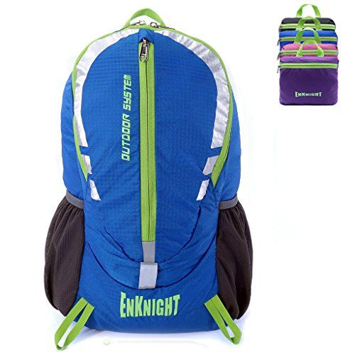 ENKNIGHT 28L Unisex Lightweight Foldable Waterproof Travel Backpack Hiking Daypack Blue >>> Find out more about the great product at the image link.