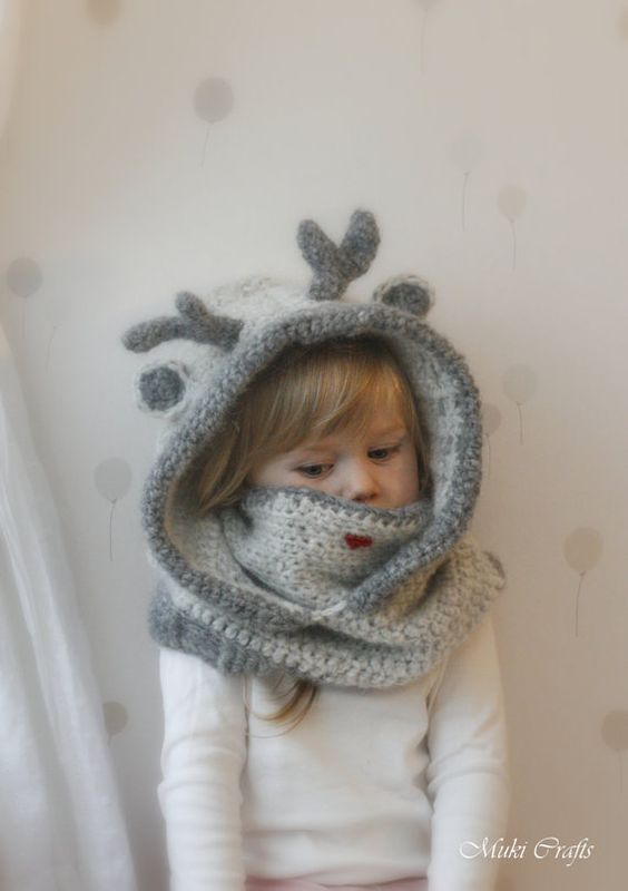Crochet reindeer hooded cowl Rudy - PDF crochet pattern - in baby, toddler, child and adult sizes