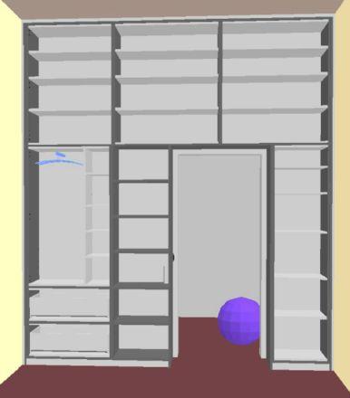 Wir haben uns vom Schreiner unseres Vertrauens nach unseren Vorstellungen einen neuen Schrank für das Kinderzimmer machen lassen, um den recht kleinen aber hohen Raum optimal auszunutzen. Leider schwierig zu fotografieren, ich musste auf den Balkon und von dort durch die Tür fotografieren, um den Schrank einigermassen drauf zu kriegen ;)