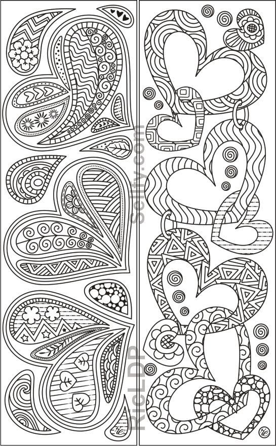 Coloring Bookmarks With Hearts Coloring Bookmarks Heart Coloring Pages Cute Coloring Pages