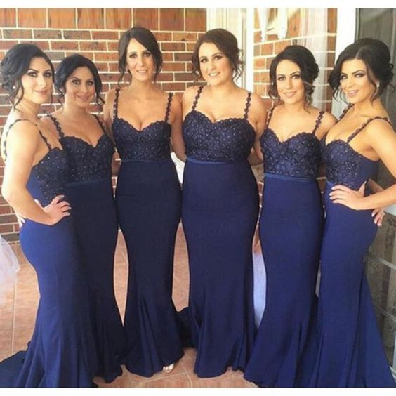 New Elegant Spaghetti Straps Mermaid Navy Blue Long Bridesmaid Dresses With Beading 2016 Floor Length Satin Wedding Party Dress