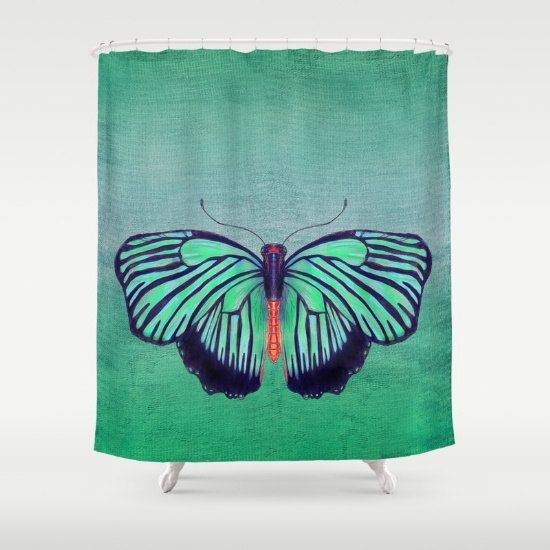 Green Butterfly Shower Curtain Spring Green by ArtfullyFeathered ...