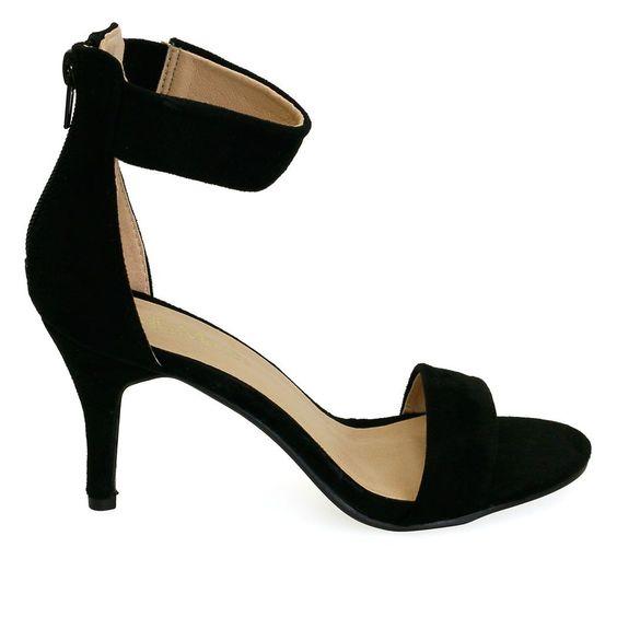 Adora-12 Black Chunky Ankle Strap Kitten Heels | Kitten heels ...
