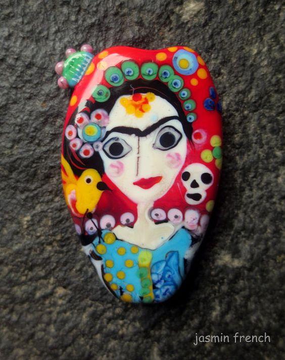Jasmin französischen 'Frida' Lampwork fokale Perlen sra ...