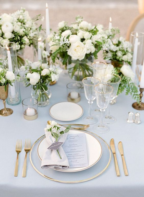Wedding Reception Table Decor Delicate Place Settings Included