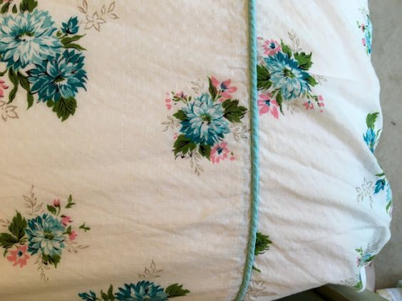 Vintage Twin Coverlet Aqua Blues & Pink by catnapcottage on Etsy