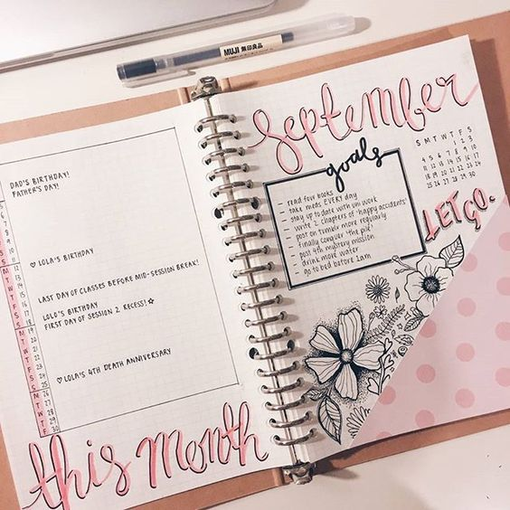 We're going to skip the Friday Financial and feature a few monthlies throughout the day. This one is uniquely lovely. From tumblr user the-girlygeek. . . . Click #bjcmonthly for more monthly spreads. . #bulletjournal #bulletjournalcommunity #bujo #bujoy #bulletjournaljunkies #monthlylayout #bulletjournaling #monthly #organized #doodles #journal #planner #planneraddict #studyspo #journaling #plannergirl #stationeryaddict #organizedlife #handwriting #studyblr #lettering #todo #monthlyspread #d...: