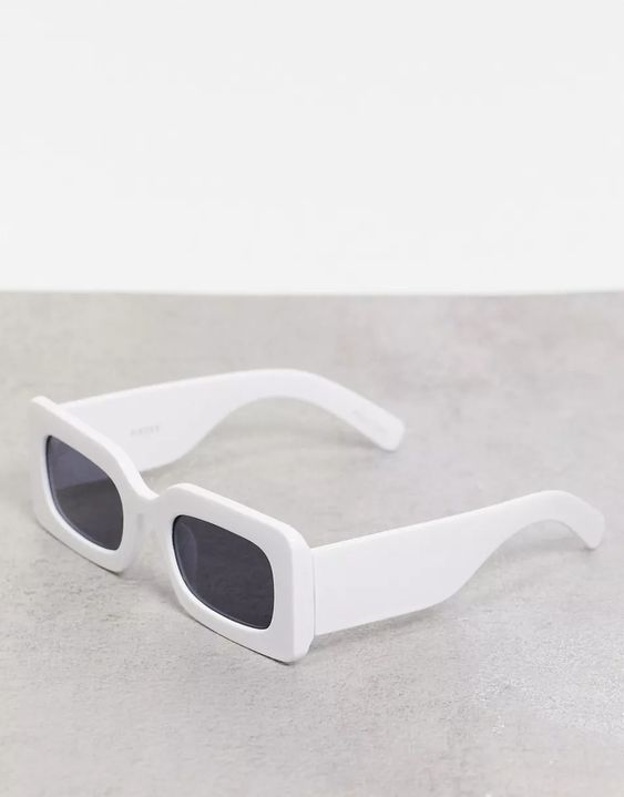 Pieces rectangle sunglasses in white | ASOS