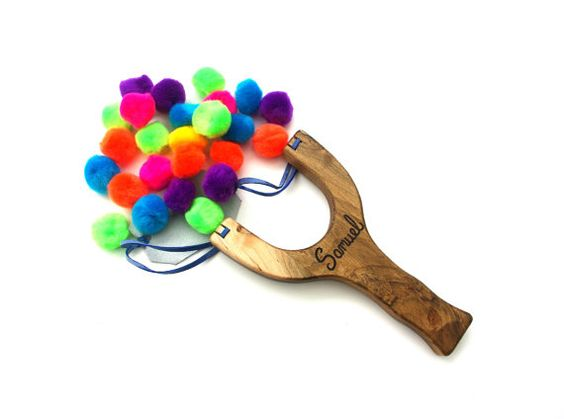 PomPom Slingshot Personalized Classic Wooden by IndieBambinoToys