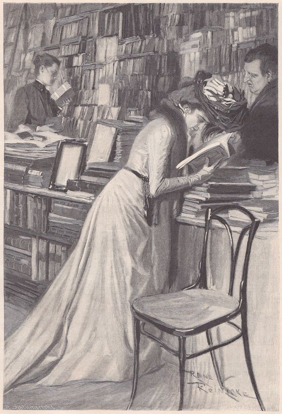 Woman reading in bookstore. Fliegende Blätter / Band CXIV / Bild 188 [Flying Leaves, Volume CXIV, Picture 188]. Illustration by René Reinicke (German, 1860-1926).: