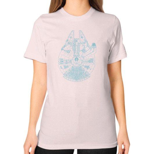 Blue Millennium Falcon Unisex T-Shirt (on woman)