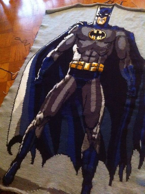 "This EPIC blanket is a wip by Mouse Knits' aunt! See the whole post, ""12 Knit & Crochet Projects inspired by Batman"" at knithacker.com #knithacker #knit #crochet #batman #superhero"