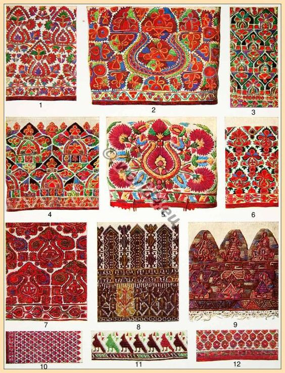 Traditional Greece Silk embroidery, 19th century.