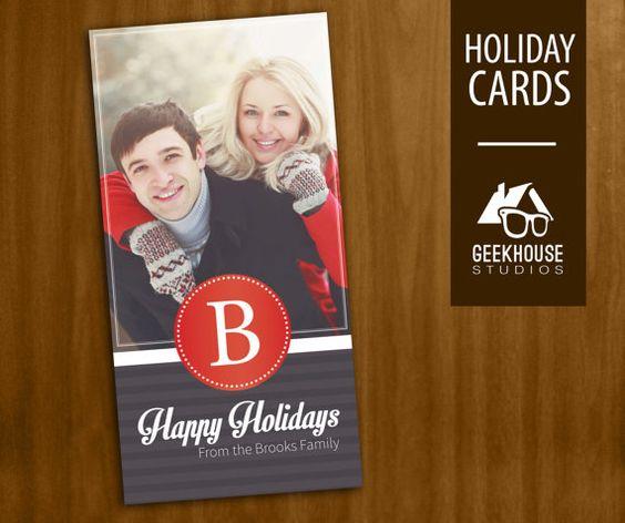 Monogram Christmas / Holiday Card Digital by GeekHouseStudios