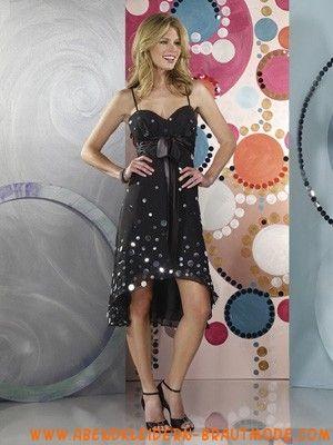 Preiswerte schwarze Abendkleider aus Chiffon mit Pailletten Herzausschnitt