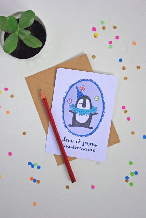 Carte Anniversaire Pingouin  Frais de port par GodSavetheTeatime