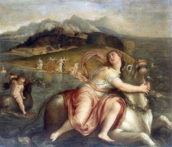Lambert Sustris - The abduction of Europa. Tags: europa, females seduced by zeus, jupiter, zeus in disguise, transformations,