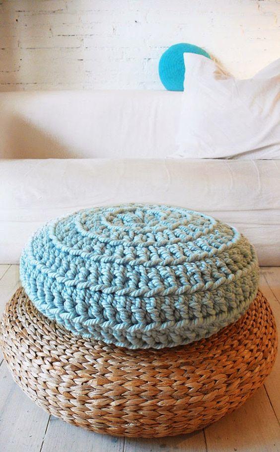 Linea R: Decopedia 3, bienvenida PRIMAVERA!!  pouf crochet
