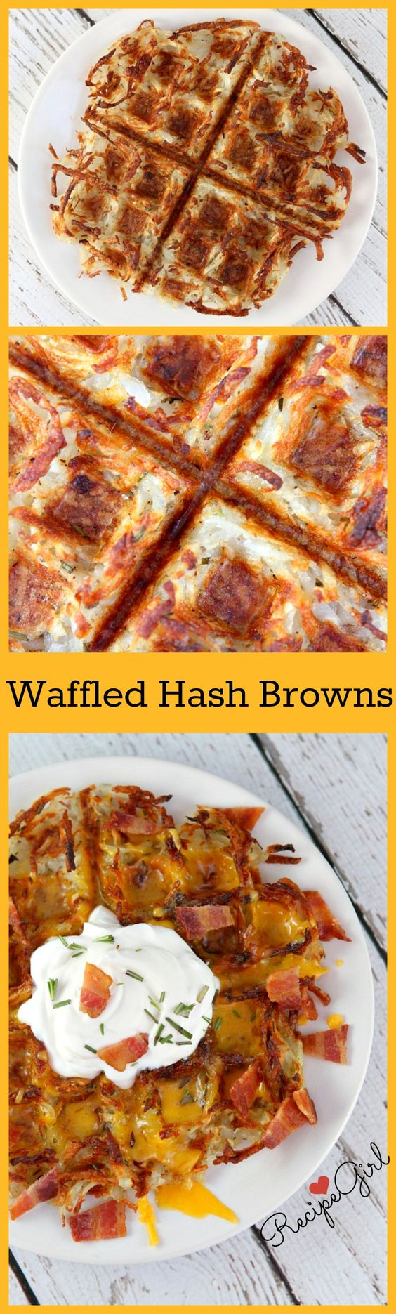 Hash Browns made in the Waffle Iron... then topped with melted cheese, sour cream and crispy bacon. Best weekend breakfast recipe ever!!
