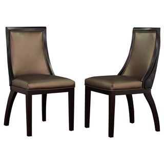 Park avenue black croco bronze leather dining chair set for Best deals on dining tables and chairs