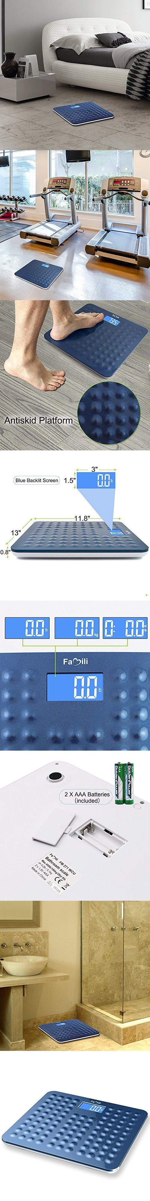 Batteries for bathroom scales - Famili Non Slip Accurate Digital Body Weight Bathroom Scale 400lb 180kg Blue