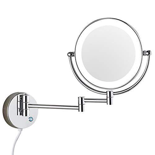 Dowry Wall Mounted Led Lighted Vanity Makeup Mirror With 10x