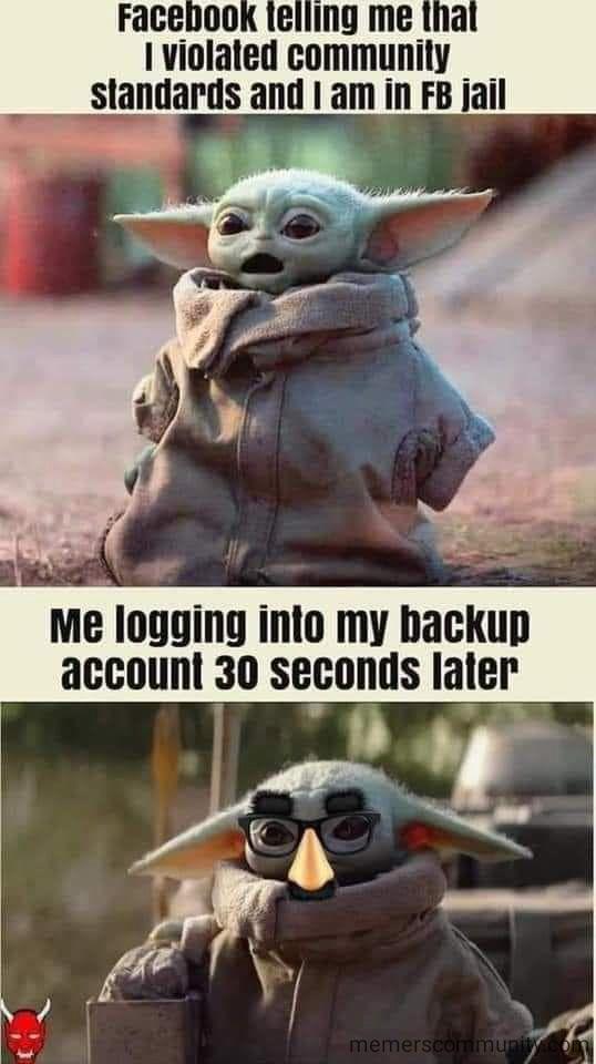 Baby Yoda Violated Community Guidelines Memes Yoda Funny Cute Funny Pics Funny Babies