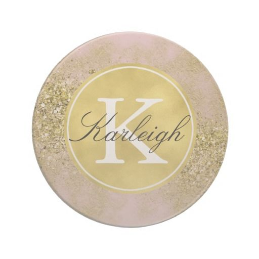 Pink Gold Faux Glitter Personalized Monogram