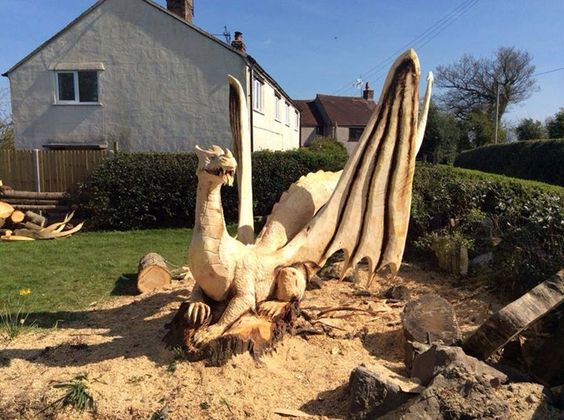 Awesome Dragon Carving By Simon O'rourke | Wood & Other Sculptures ... Kettensaegenkunst Holz Carving Motorsaege