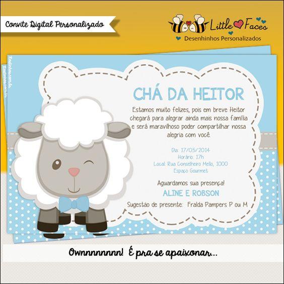 convite ch de beb menino ovelhinha para imprimir ch de beb das ovelhinhas pinterest. Black Bedroom Furniture Sets. Home Design Ideas