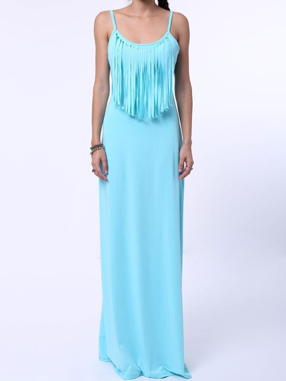 Stylish Fringed Strappy Maxi Dress For Women from 17.34$ by SAMMYDRESS