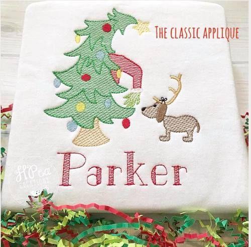 Whimsical Christmas Tree And Girl Sketch Fill Embroidery Design Christmas Tree Embroidery Design Whimsical Christmas Trees Embroidery Designs