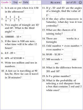 Mental Math Grade 5 Day 62 Mental Maths Worksheets Grade 5 Math Worksheets Math Worksheets
